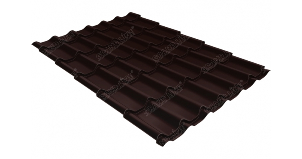Металлочерепица классик GL 0,5 Atlas RAL 8017 шоколад