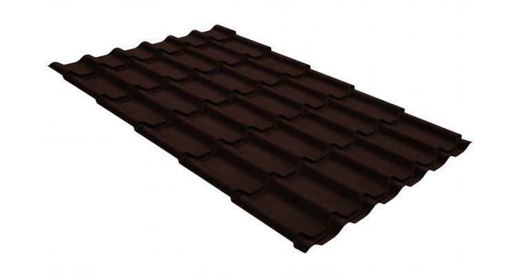 Металлочерепица классик GL 0,5 GreenCoat Pural RR 887 шоколадно-коричневый (RAL 8017 шоколад)
