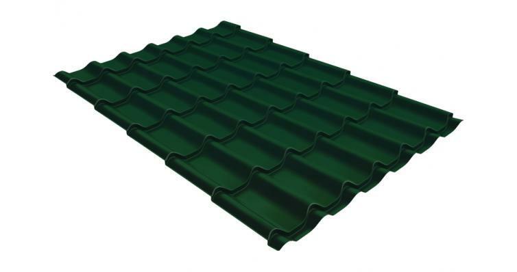 Металлочерепица классик GL 0,5 Velur20 RAL 6005 зеленый мох
