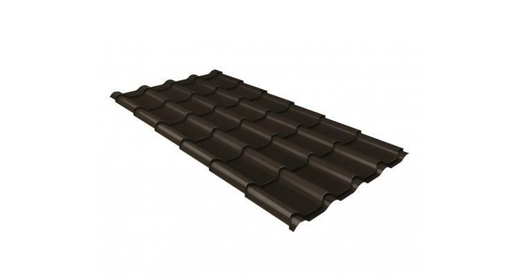 Металлочерепица камея GL 0,5 Quarzit lite RR 32 темно-коричневый