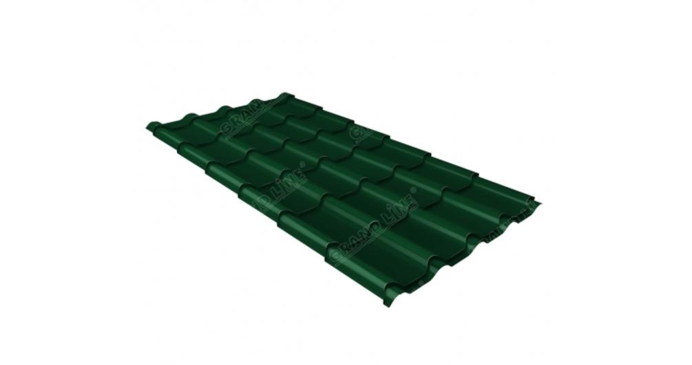 Металлочерепица камея 0,5 Satin RAL 6005 зеленый мох