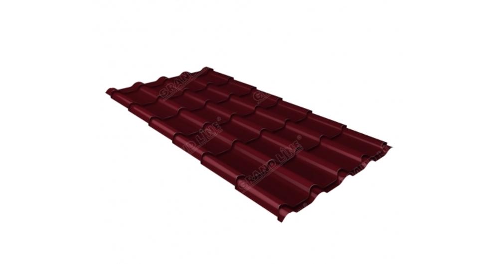Металлочерепица камея GL 0,5 Velur20 RAL 3005 красное вино