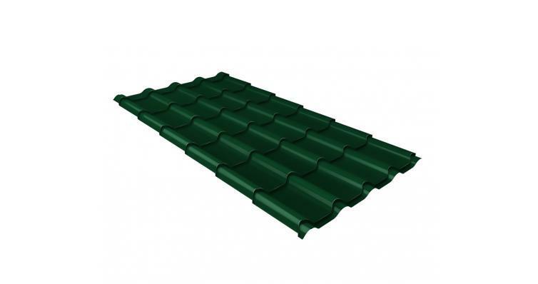 Металлочерепица камея GL 0,5 Velur20 RAL 6005 зеленый мох