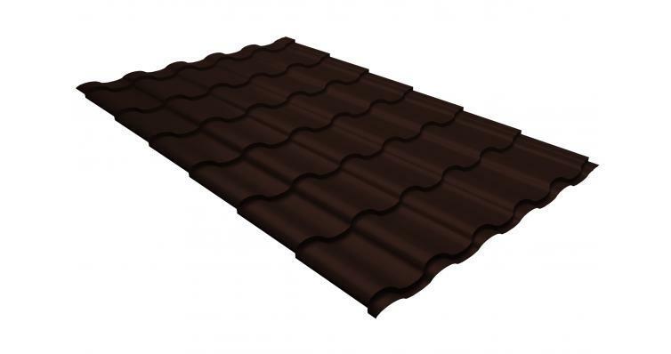 Металлочерепица кредо GL 0,5 GreenСoat Pural RR 887 шоколадно-коричневый (RAL 8017 шоколад)