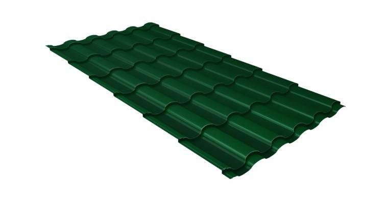 Металлочерепица кредо GL 0,5 Quarzit lite RAL 6005 зеленый мох