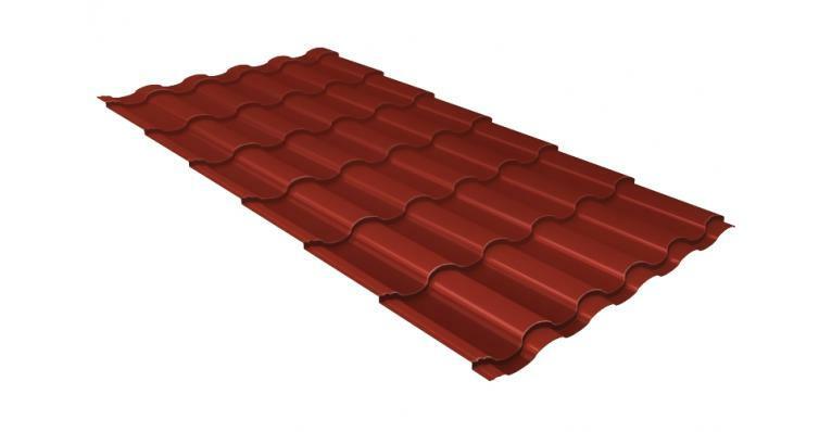 Металлочерепица кредо GL 0,5 Velur20 RAL 3009 оксидно-красный