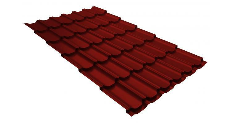 Металлочерепица квинта плюс GL 0,5 Satin RAL 3011 коричнево-красный