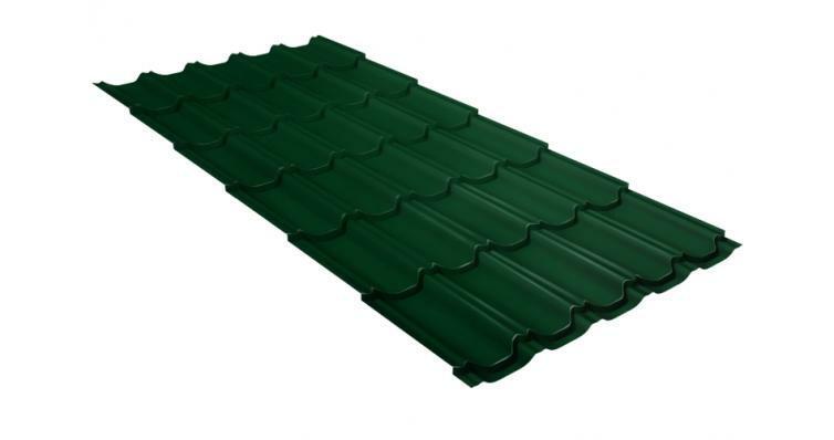 Металлочерепица квинта плюс GL 0,5 Velur20 RAL 6005 зеленый мох