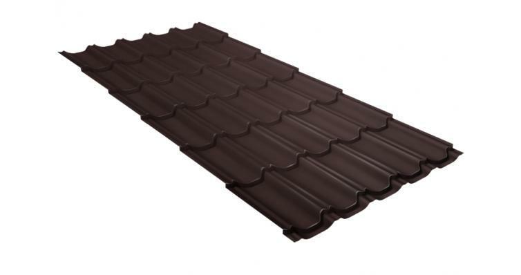 Металлочерепица квинта плюс GL 0,5 Velur20 RAL 8017 шоколад