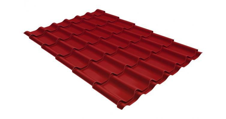 Металлочерепица модерн 0,45 PE RAL 3003 рубиново-красный