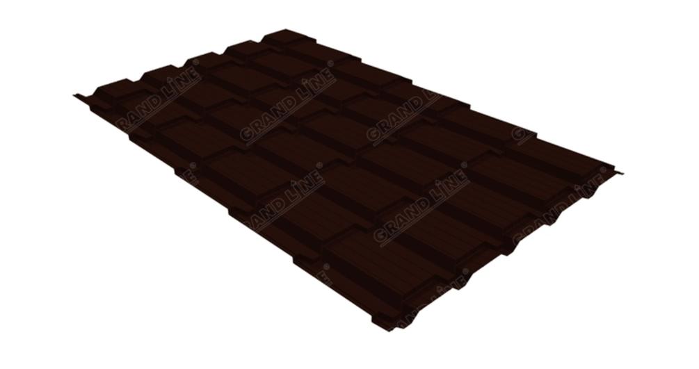 Металлочерепица квадро GL 0,5 Atlas RR 32 темно-коричневый