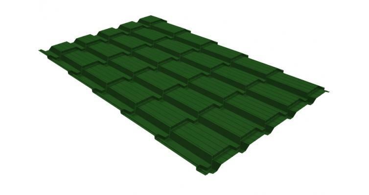 Металлочерепица квадро 0,45 PE RAL 6002 лиственно-зеленый