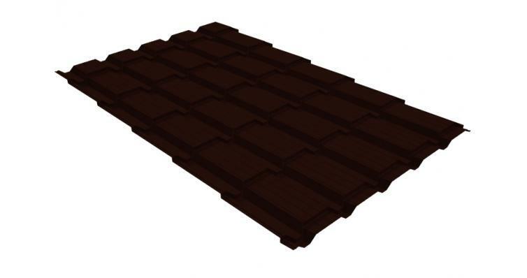 Металлочерепица квадро 0,45 PE RR 32 темно-коричневый