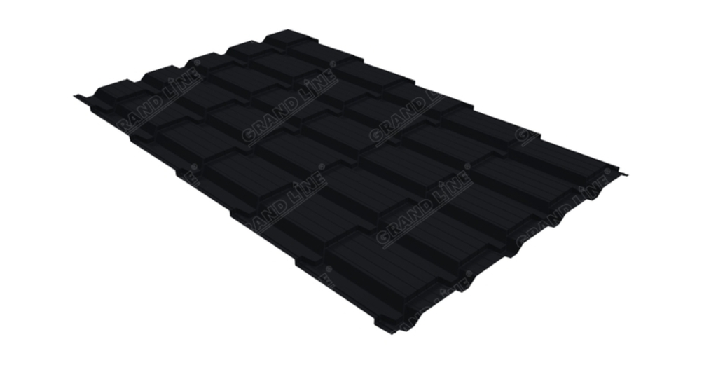 Металлочерепица квадро GL 0,5 Velur20 RAL 9005 черный