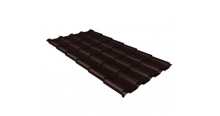 Металлочерепица камея GL 0,5 Velur20 RAL 8017 шоколад