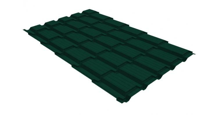 Металлочерепица квадро GL 0,5 Velur20 RAL 6005 зеленый мох