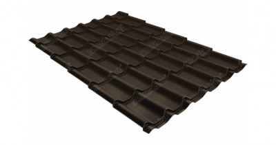 Металлочерепица классик GL 0,5 GreenCoat Pural Matt RR 32 темно-коричневый (RAL 8019 серо-коричневый)
